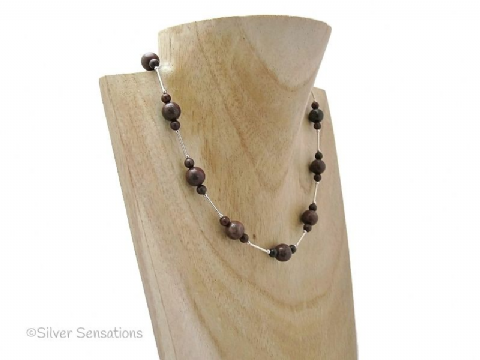 Reddish Brown Jasper Beads & Sterling Silver Tubes Unique Necklace